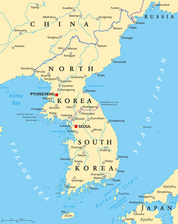 peninsula: Korean peninsula political map with North and South Korea and the capitals Pyongyang and Seoul, national borders, important cities, rivers and lakes. English labeling and scaling. Illustration.