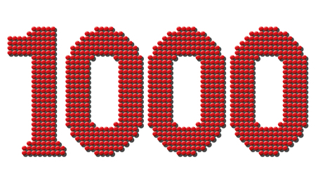 tokens: Thousand red round tokens representing number THOUSAND. Isolated illustration over white background. Illustration