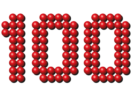 counted: Hundred red balls arranging number HUNDRED. Isolated illustration on white background.