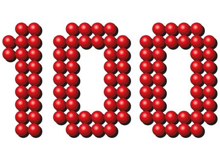 arranging: Hundred red balls arranging number HUNDRED. Isolated illustration on white background.