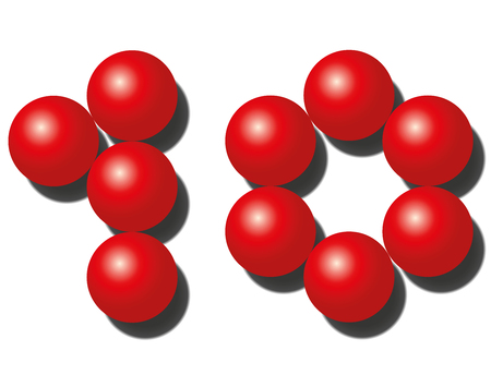numero diez: Diez bolas rojas que parecen número diez. Ilustración aislada en blanco.