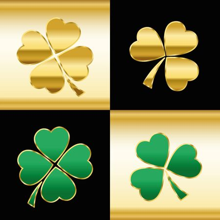 leaved: Golden and green shamrocks - pattern with three and four leaved clovers on gold and black square background.
