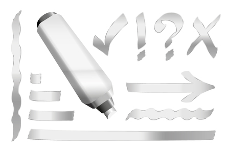 interrogation mark: Silver pen - plus some silver signs like call sign, question mark, tick mark, arrow and underlining. illustration over white background.
