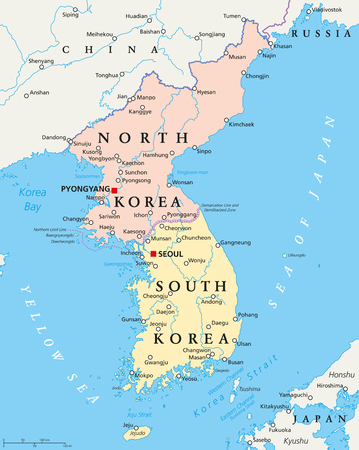 korean national: North Korea and South Korea political map with capitals Pyongyang and Seoul. Korean peninsula, national borders, important cities, rivers and lakes. English labeling and scaling. Illustration.