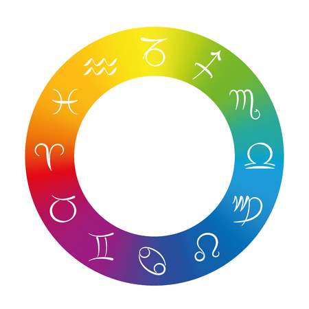 color ring: Radix - Astrology symbols in a rainbow gradient color ring. Isolated illustration on white background.