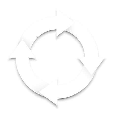 slog: Spinning arrows with shadow on white background.