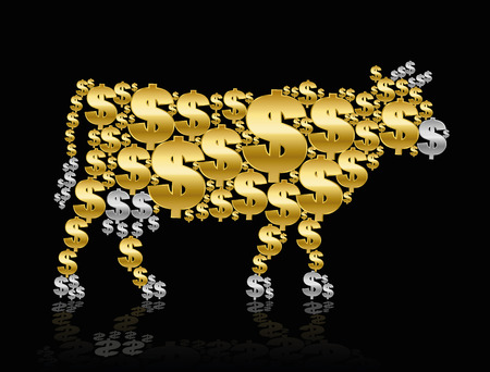 calves: Dollars that shape a CASH COW or a GOLDEN CALF. Isolated vector illustration on black background.
