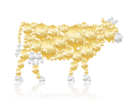 golden symbols: Cash cow composed of golden and silver dollar symbols. Isolated vector illustration on white background.