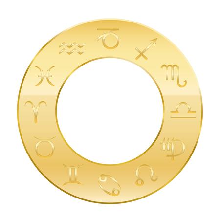 astrologie: Tierkreiszeichen - goldenen Kreis der Astrologie. Isolierten Vektor-Illustration auf weißem Hintergrund.