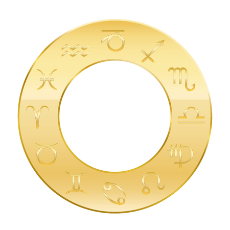 astrology: Zodiac signs - golden circle of astrology. Isolated vector illustration on white background.