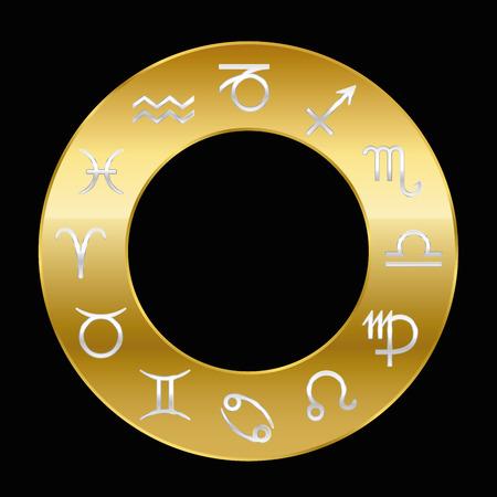 prosperidad: signos del zodíaco de plata en el anillo de oro. Ilustración vectorial sobre fondo negro.