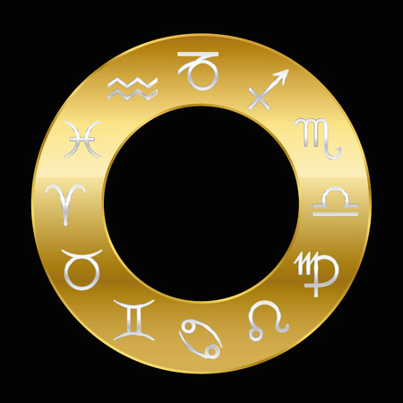 golden ring: Zodiac signs silver on golden ring. Vector illustration on black background.