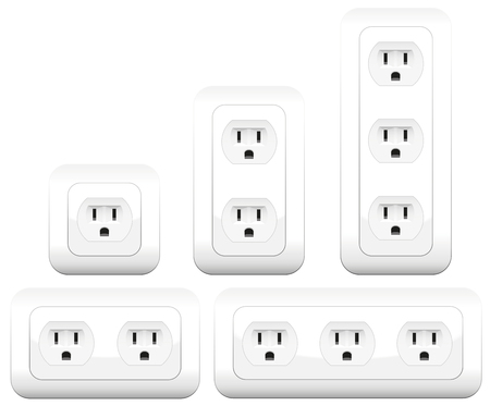triplet: Socket variations - double and triple outlets. Isolated vector illustration on white background.