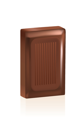 cocoa: Piece of chocolate. Isolated vector illustration on white background.