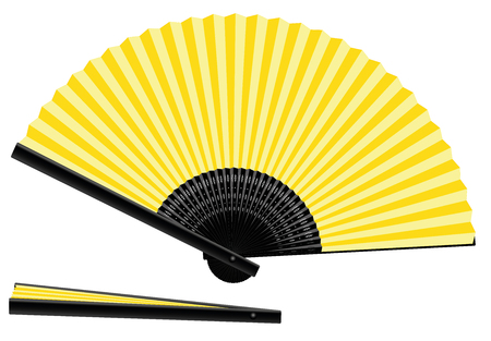 foldable: Yellow hand fan - open and closed - three-dimensional - realistic. Isolated vector illustration on white background.