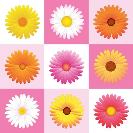 variation: Daisies - variation of pink, yellow and orange flowers for seamless wallpaper pattern. Vector illustration.