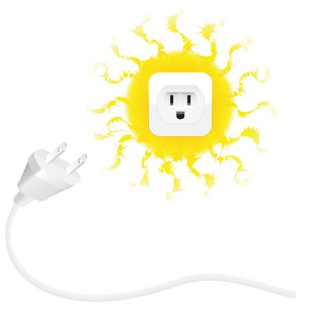 energia solar: La energía renovable - energía solar - el enchufe y el sol con zócalo. ilustración vectorial aislados en fondo blanco.