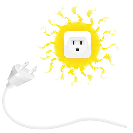 solar power: Renewable energy - solar energy - plug and sun with socket. Isolated vector illustration on white background.