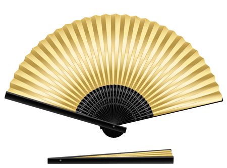 Golden folding fan - elegant, stylish, posh. Isolated vector illustration over white background. Ilustração
