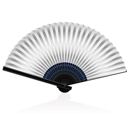 ventaglio pieghevole argenteo - elegante, raffinato, elegante. illustrazione vettoriale isolato su sfondo bianco.