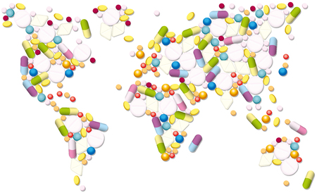 Pharmaceutical map of the world, as a symbol for global trading with medicines. Isolated vector illustration on white background. Çizim