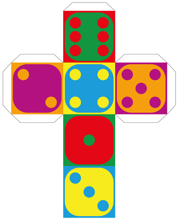 Dice template - model of a colorful cube to make a three-dimensional handicraft work out of it. Isolated vector illustration on white background.
