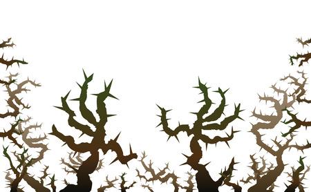 Brier - amenazando espinas que parecen manos agarrando espeluznantes. ilustración vectorial aislados en fondo blanco.