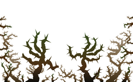 Brier - threatening thorns that look like spooky grabbing hands. Isolated vector illustration on white background. Illustration