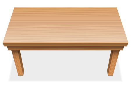 view from above: Long table with wooden texture - perspective view from above - isolated vector illustration over white background.