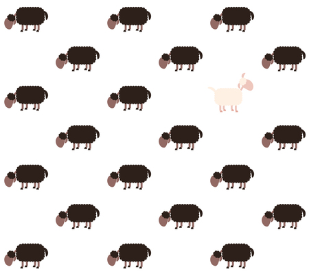outsider: Black sheep flock with one white sheep looking up - contrary to the usual metaphor. Seamless background can be created in all directions. Isolated vector illustration on white background.