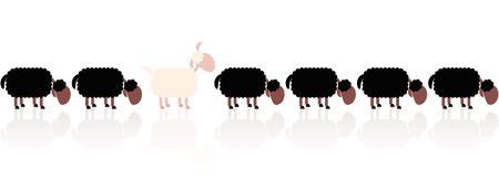 separate: Black sheep metaphor looking at it the other way around. Cartoon vector illustration on white background.