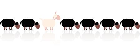 Zwarte schapen metafoor kijken naar het andersom. Cartoon vector illustratie op witte achtergrond. Stock Illustratie