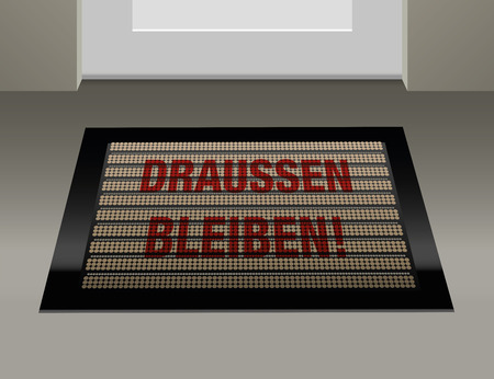 exile: Doormat with german text that says to stay outside: Draussen bleiben!