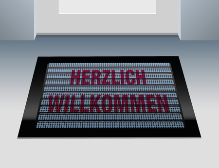 social outcast: Doormat that says, that you are welcome in german language: Herzlich willkommen.