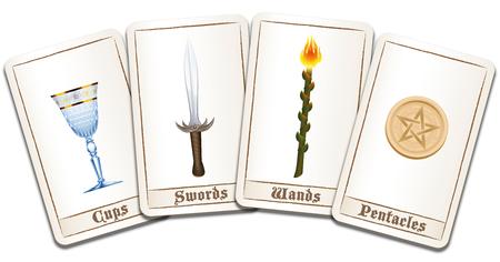 Tarotkaarten woeien uit met vier kleuren: toverstokjes, munten, zwaarden en bekers. Geïsoleerde vector illustratie op een witte achtergrond. Vector Illustratie