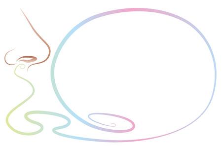 Geur ruiken neus met soort lege Spraak ballon, een lege ruimte om iets geurige in te doen. Geïsoleerde schets vector illustratie op een witte achtergrond.