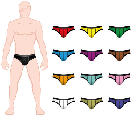 sexy muscular man: Briefs - colorful underpants to be changed on the mannequin - Isolated vector illustration on white background.