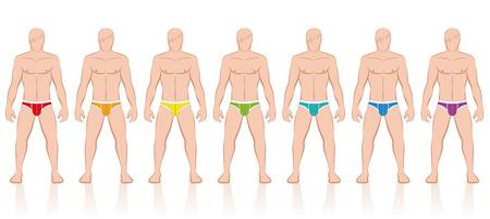 niño sin camisa: Breves - Colección de hombres de color los calzoncillos - ilustración vectorial aislado sobre fondo blanco.