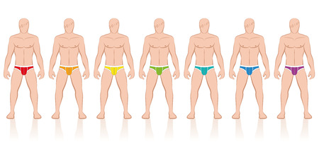 sexy muscular man: Briefs - collection of colored mens underpants - Isolated vector illustration on white background.