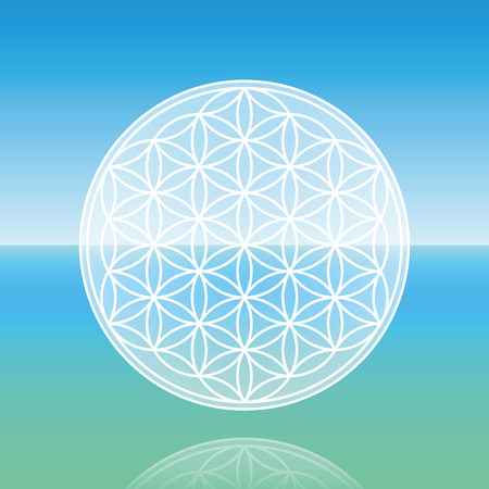 paz interior: Flor de la vida - levitando sobre el océano tranquilo pacífica.