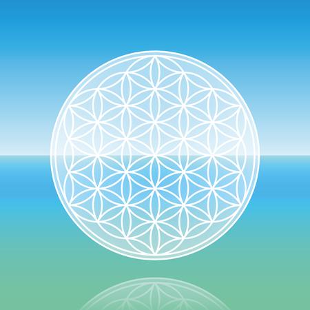 inner peace: Flower of Life - levitating over calm peaceful ocean.