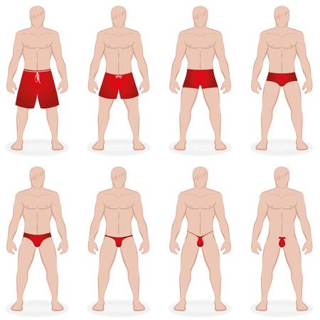 Herren Bademode - verschiedene Badehose in verschiedenen Stilen, Längen und Größen - wie Bermudas, String, G-String - Isolierte Vektor-Illustration auf weißem Hintergrund.