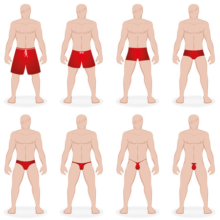 swimsuit: Mens swimwear - different swim trunks in various styles, lengths and sizes - like bermudas, thong, g-string - Isolated vector illustration on white background.