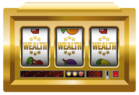 luxuriance: WEALTH SLOT MACHINE - on white background. Illustration