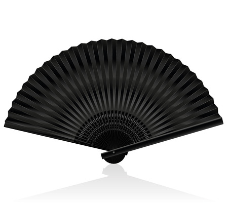 fanned: Black handheld fan. Isolated illustration on white background.