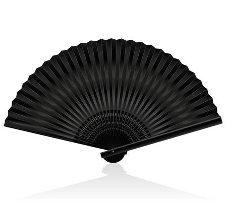 Black handheld fan. Isolated illustration on white background.