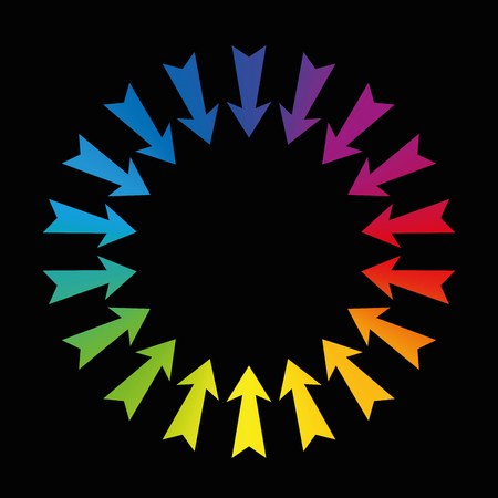 midsection: Arrows showing to center - rainbow colored on black background.