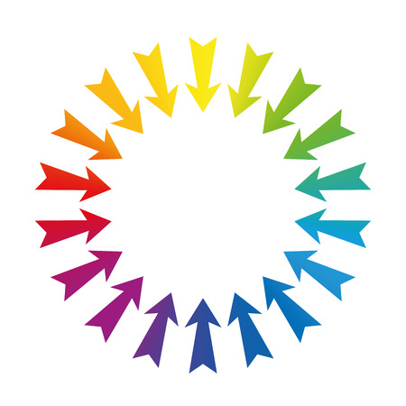 midsection: Arrows showing to center - rainbow colored - isolated illustration on white background.