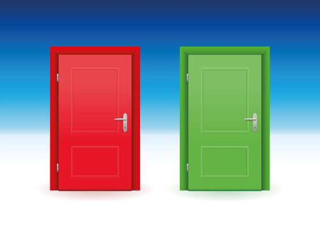 two way: Red and green door to choose. illustration on white to sky blue gradient.