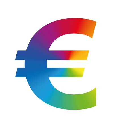 european euro: Euro symbol colorful european business - isolated illustration on white background.